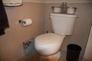 Bathroom with magazine holder
