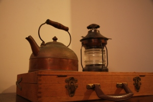 kettle, art case, lantern