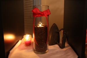 coffee beans/candle