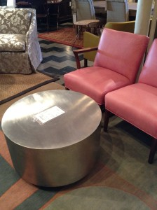 stainless steel ottoman & pink chairs