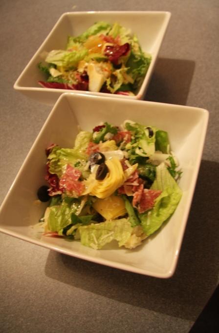 Salami, olive, artichoke salad