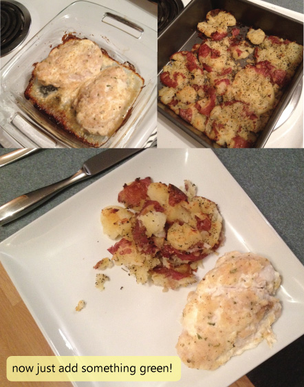 Creamy chicken and smashed potatoes