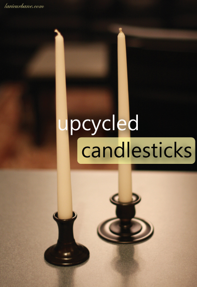 Black painted candlesticks